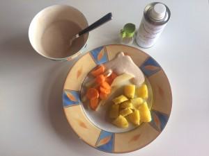 Kartoffeln mit Leinöl und Gemüse